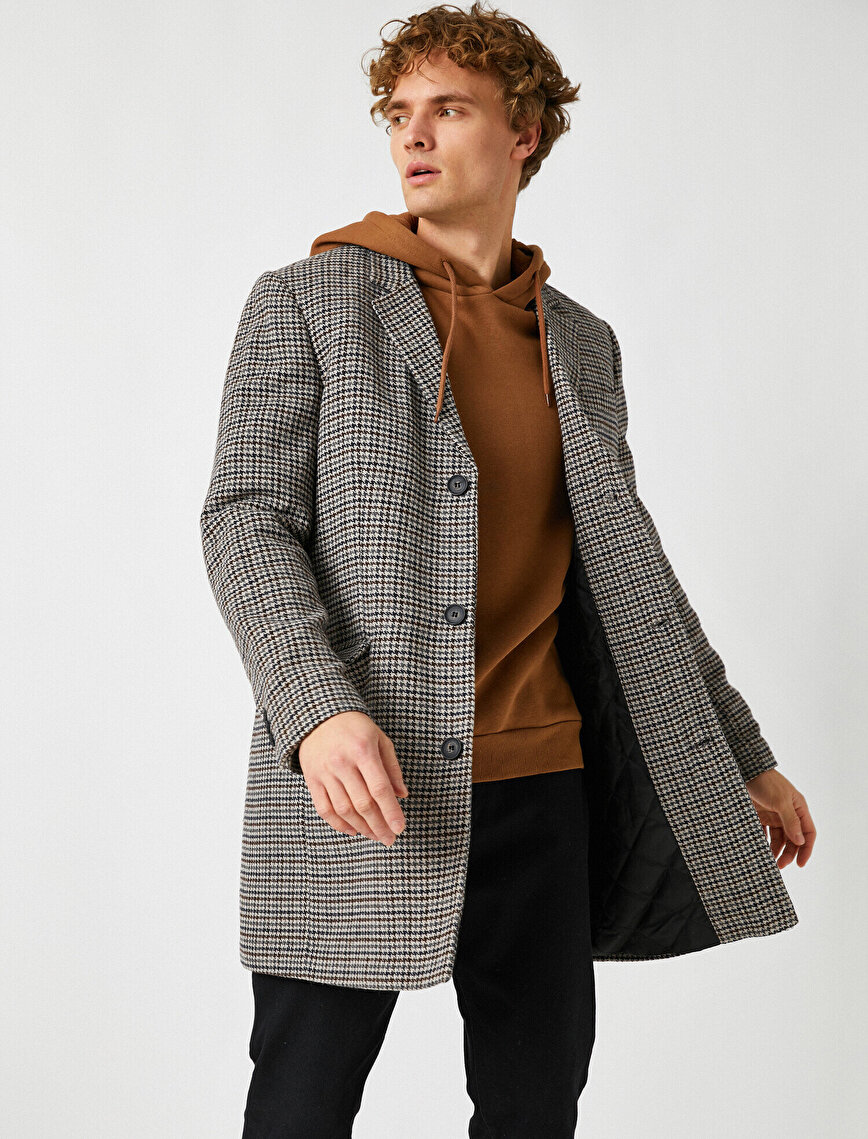 Houndstooth Classic Collar Flap Pocket Button Coat