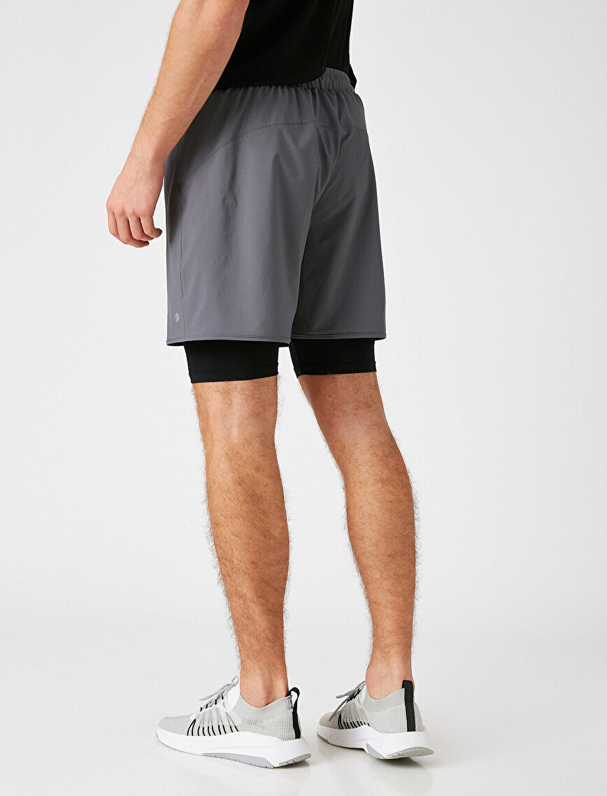 Double Pocket Two Different Fabric Shorts