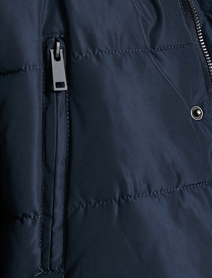 Puffer Coat Hooded Fur Detailed