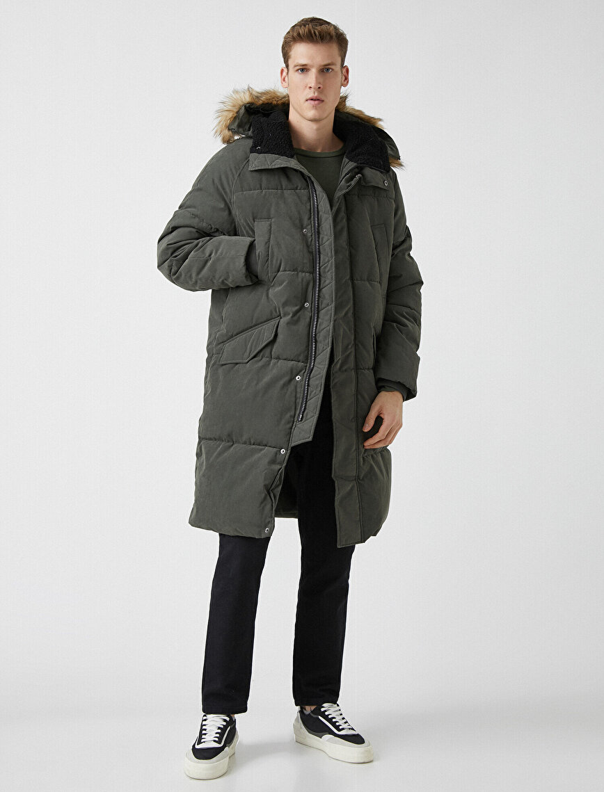 Faux Fur Hooded Pocket Detailed Puffer Coat