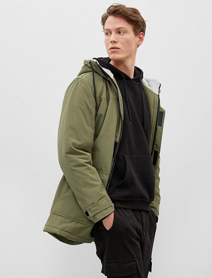 Hooded Coat Pocket Detaled Zipper