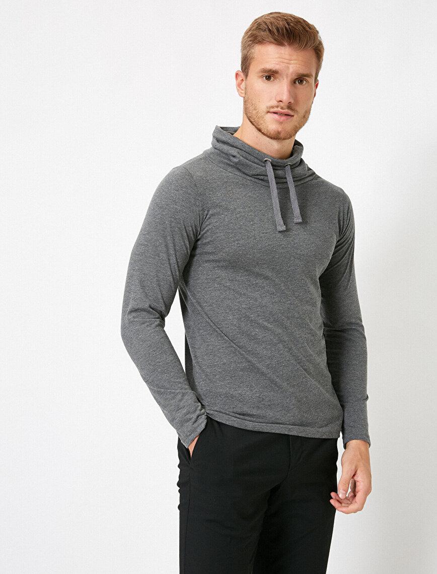 Slim Fit Pamuklu Şal Yaka Basic Uzun Kollu Tişört