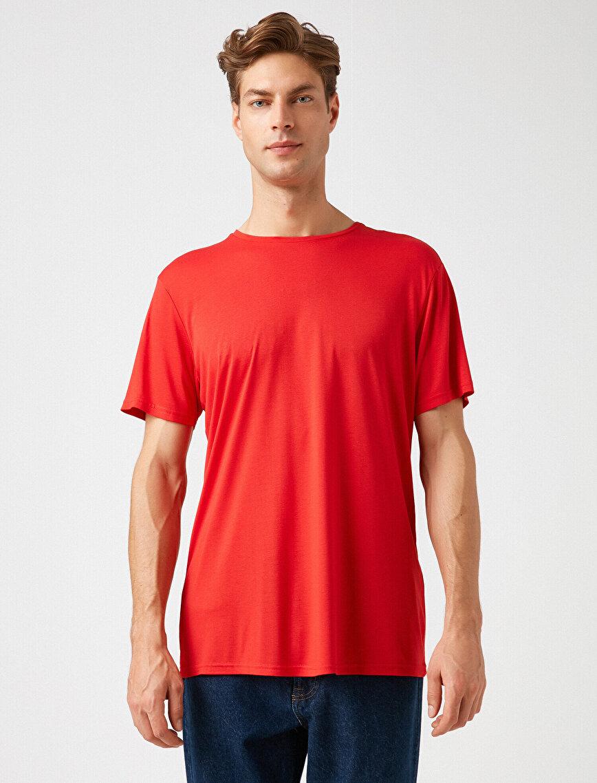 Kısa Kollu Bisiklet Yaka Basic Tişört