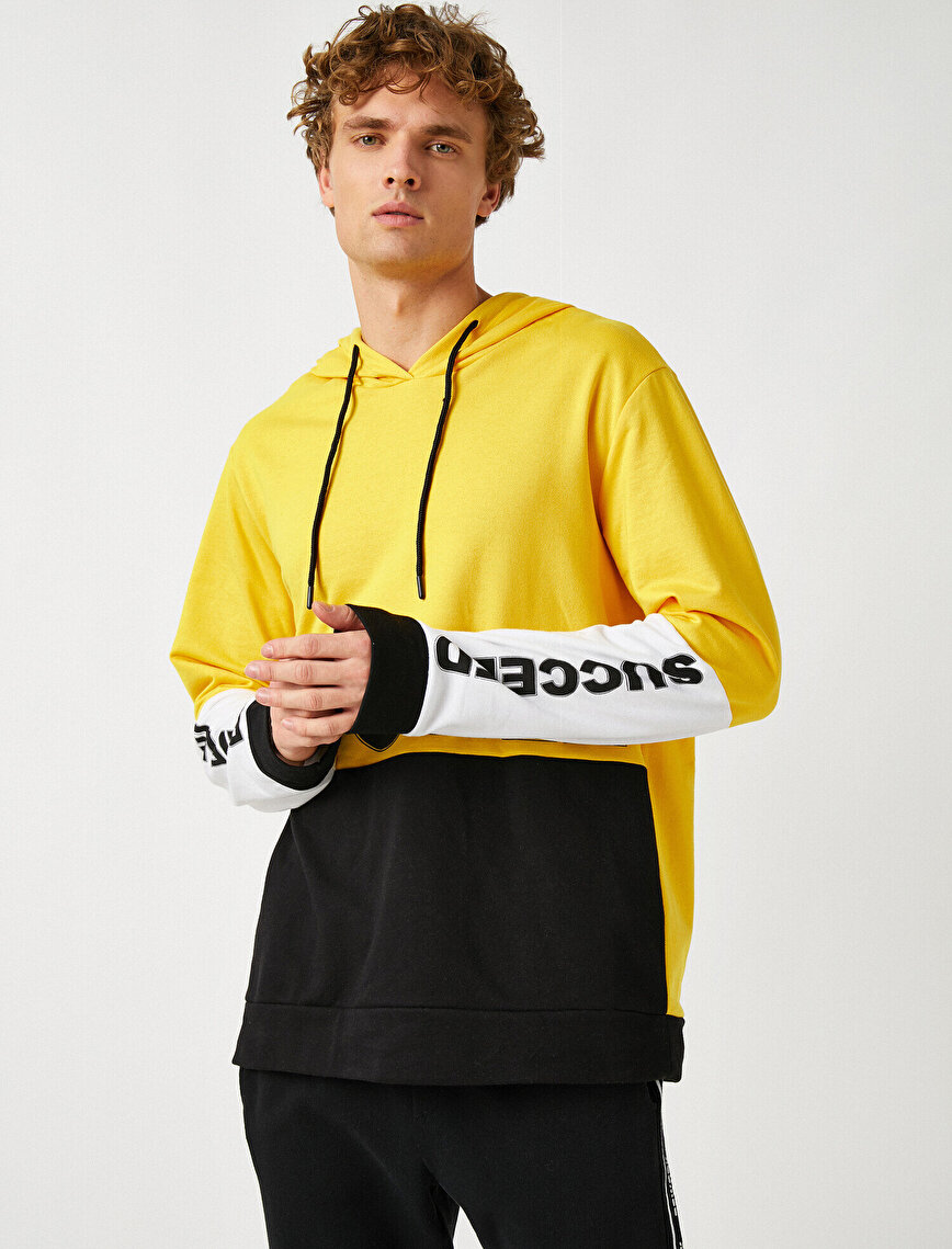 Yazılı Baskılı Kapüşonlu Uzun Kollu Sweatshirt