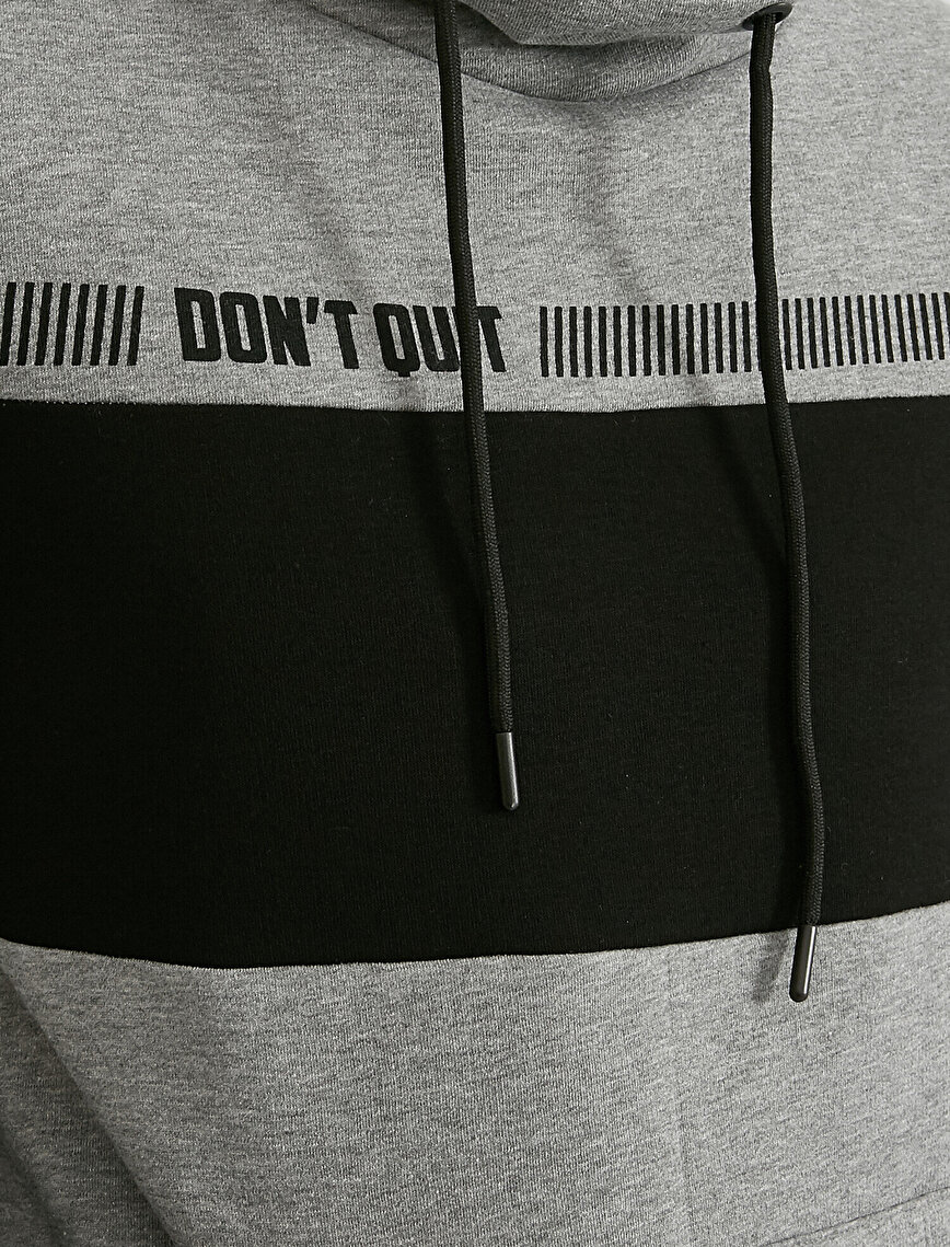 Color Block Kangaroo Pocket Letter Printed Sweatshirt