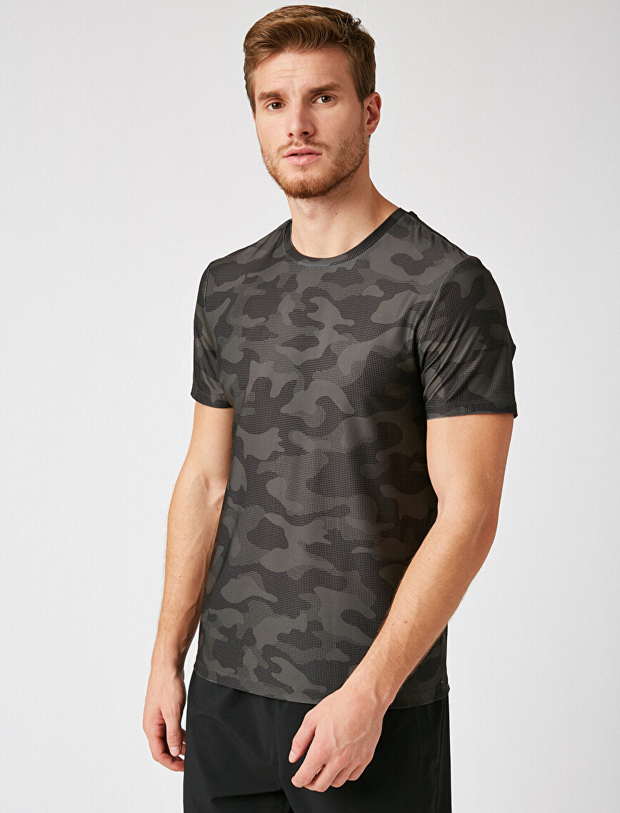 Camouflage Patterned Short Sleeve Crew Neck T-Shirt