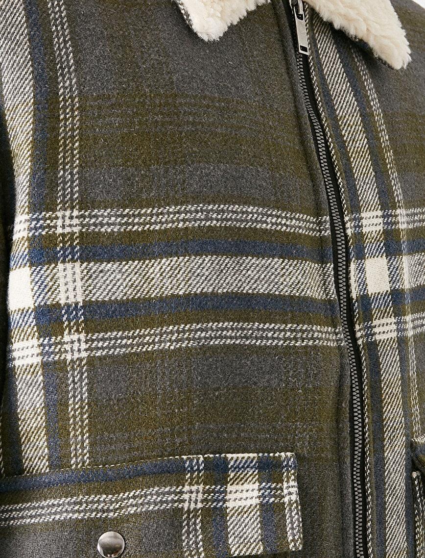 Suni Kürk Detaylı Fermuarlı Ceket