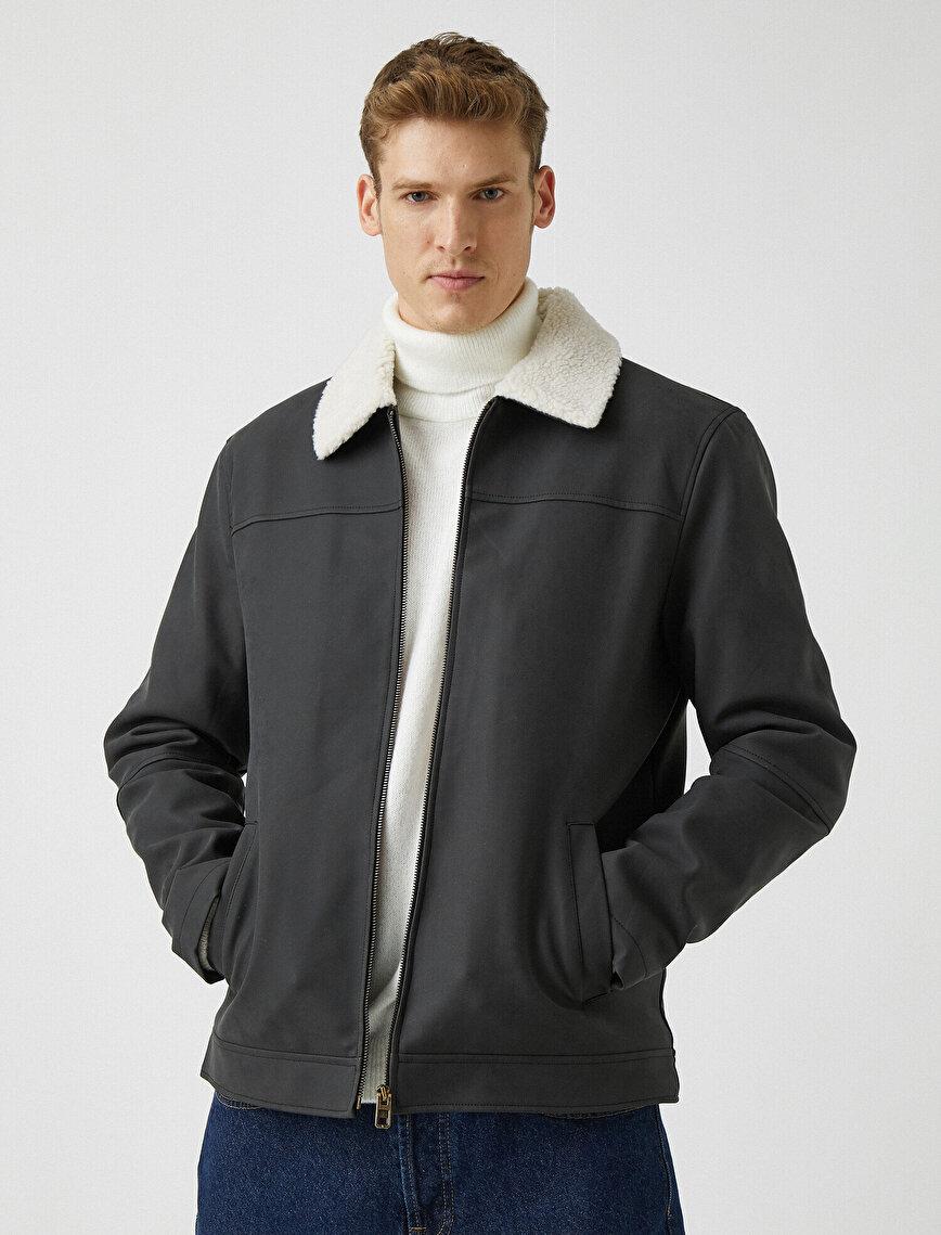 Sherpa Shirt Collar Pocket Zipper Detaield Faux Fur Coat