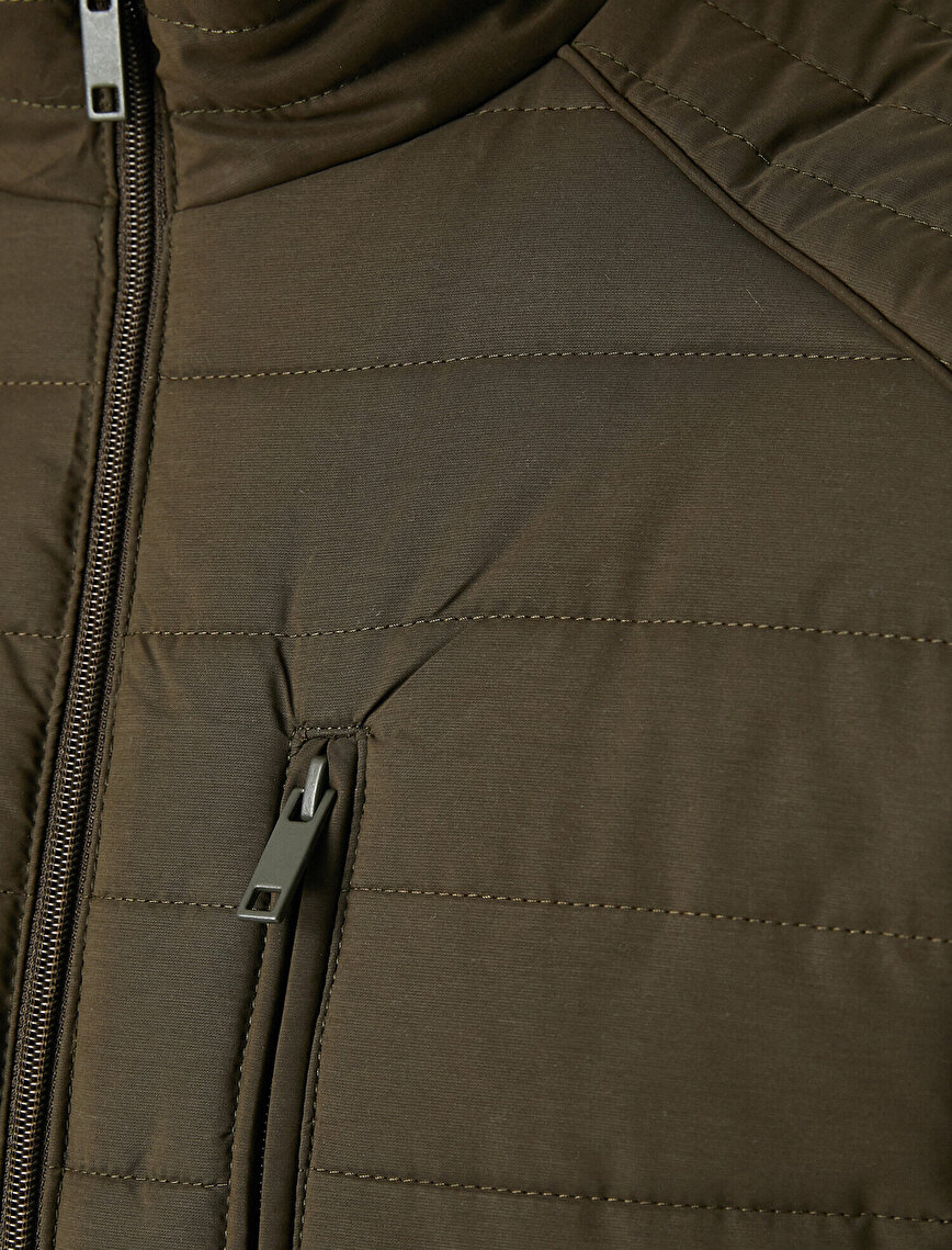 Stand Neck Pocket Detailed Thin Coat