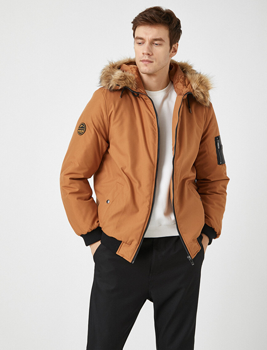 Faux Fur Hooded Pocket Detailed Coat