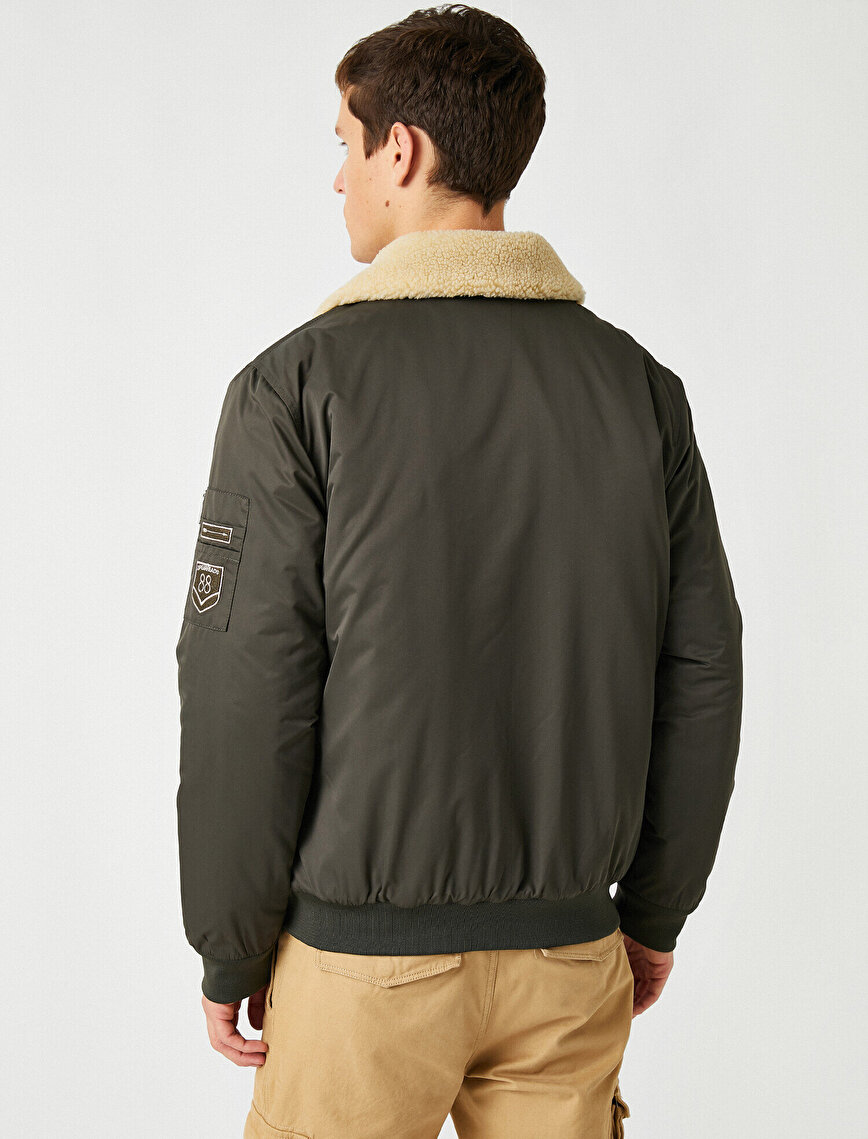 Patch Zipper Detailed Sherpa Classik Collar Pocket Detailed Coat