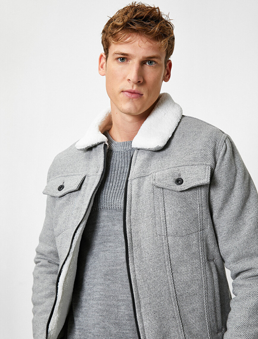 Faux Fur Detailed Zipped Pocket Jacket