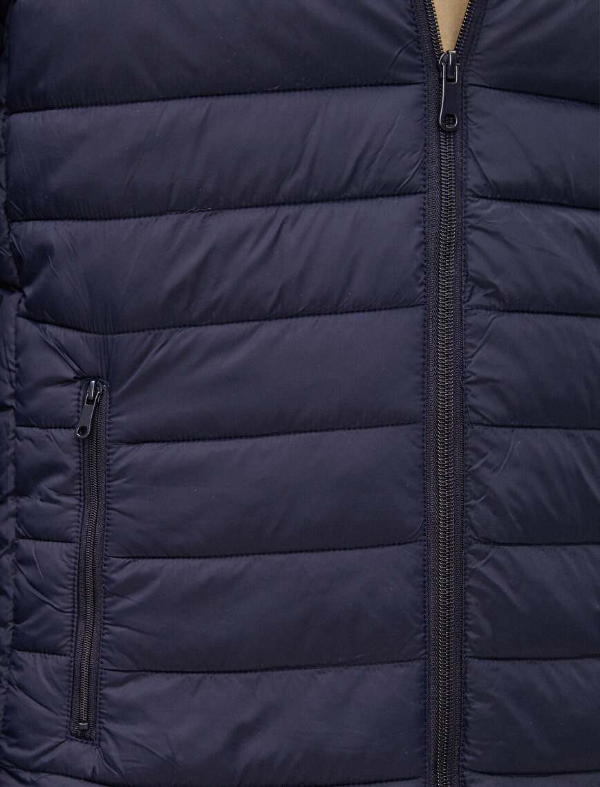 Hooded Zipper Detailed Coat