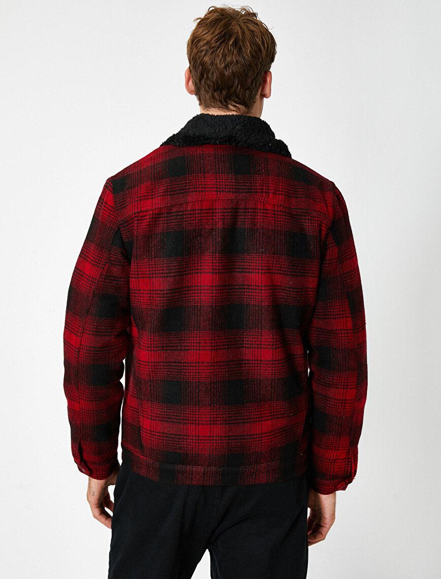 Shirt Neck Checked Pocket Jacket