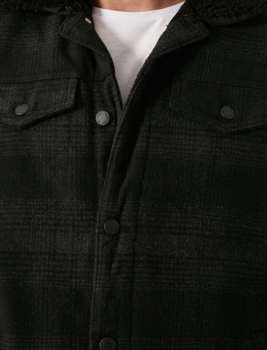 Shirt Neck Checked Pocket Jacket