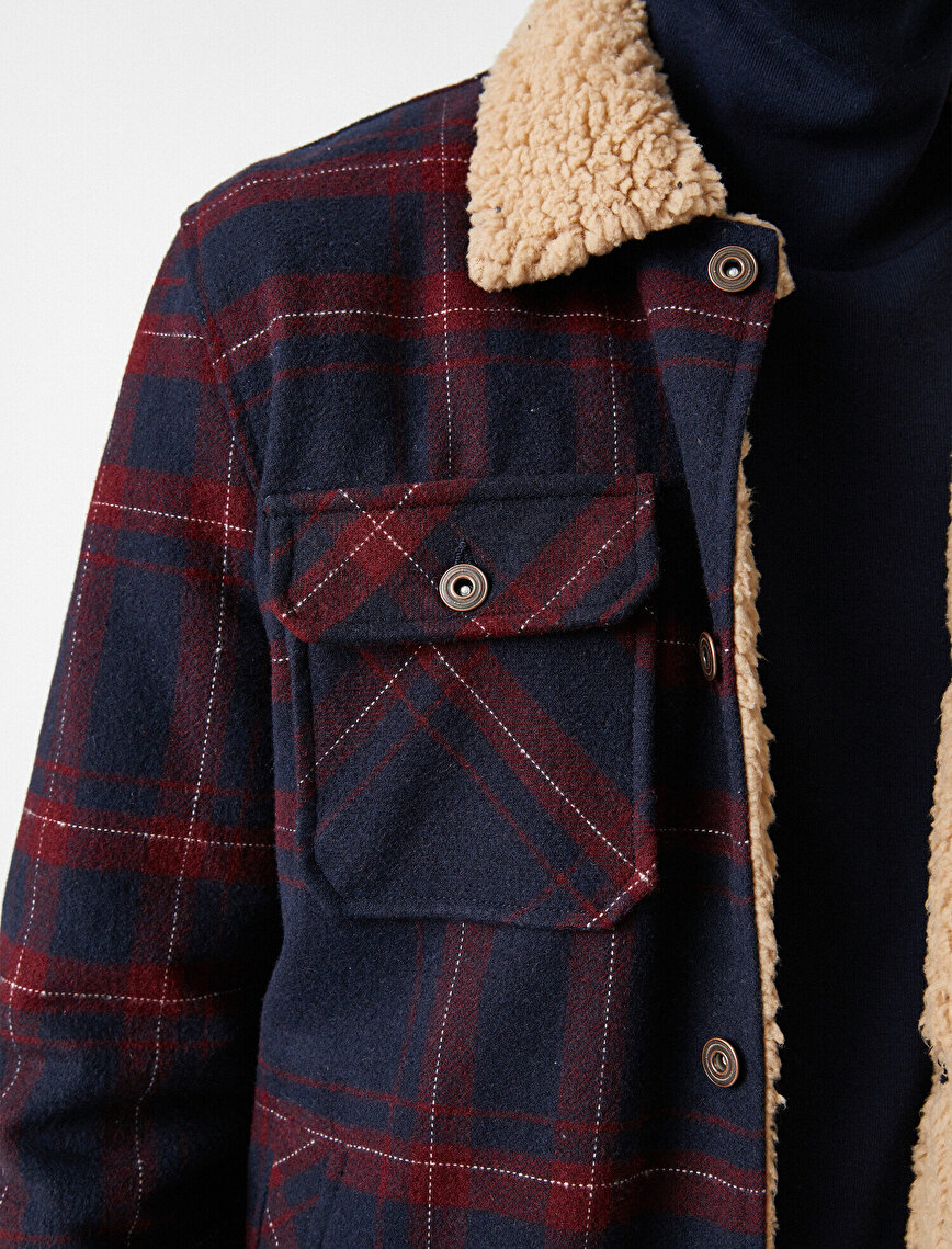 Check Classic Collar Pocket Detailed Coat