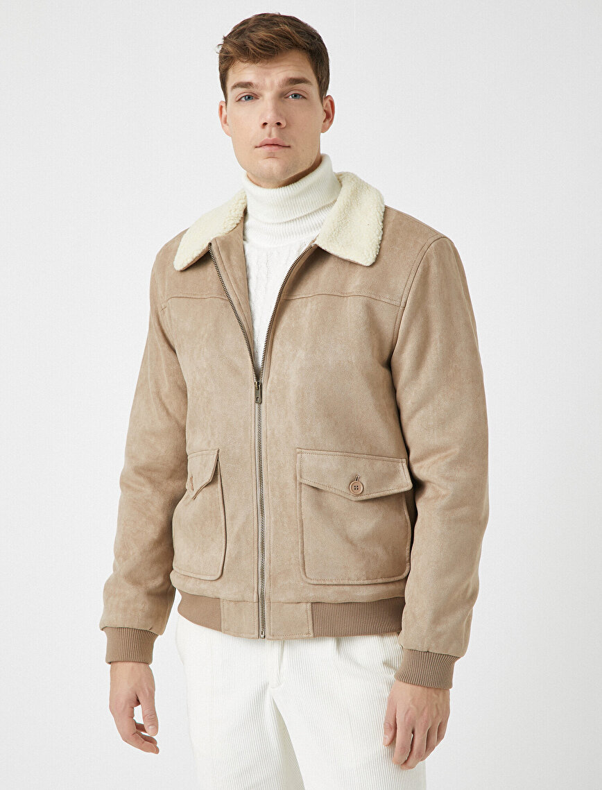 Sherpa Shirt Collar Suede Look Pocket Zipper Detailed Coat