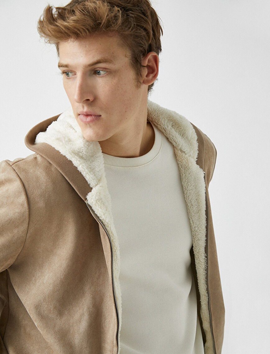 Hooded Faux Fur Zipper Detailed Suede Look Coat