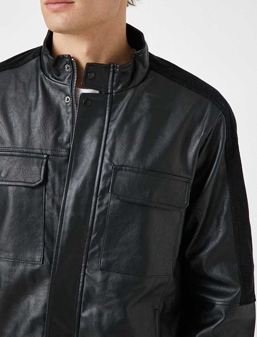 Stand Neck Pocket Detailed Faux Leather Jacket