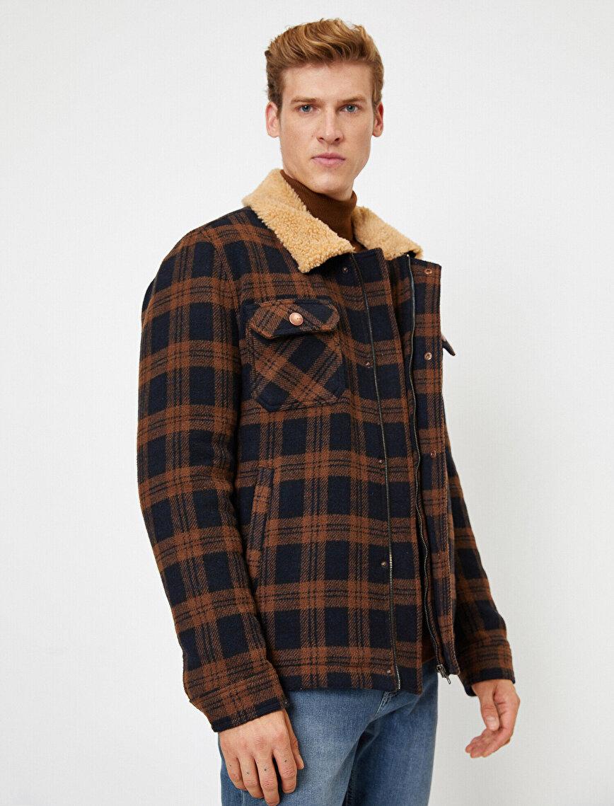 Sherpa Shirt Collar Check Pocket Coat