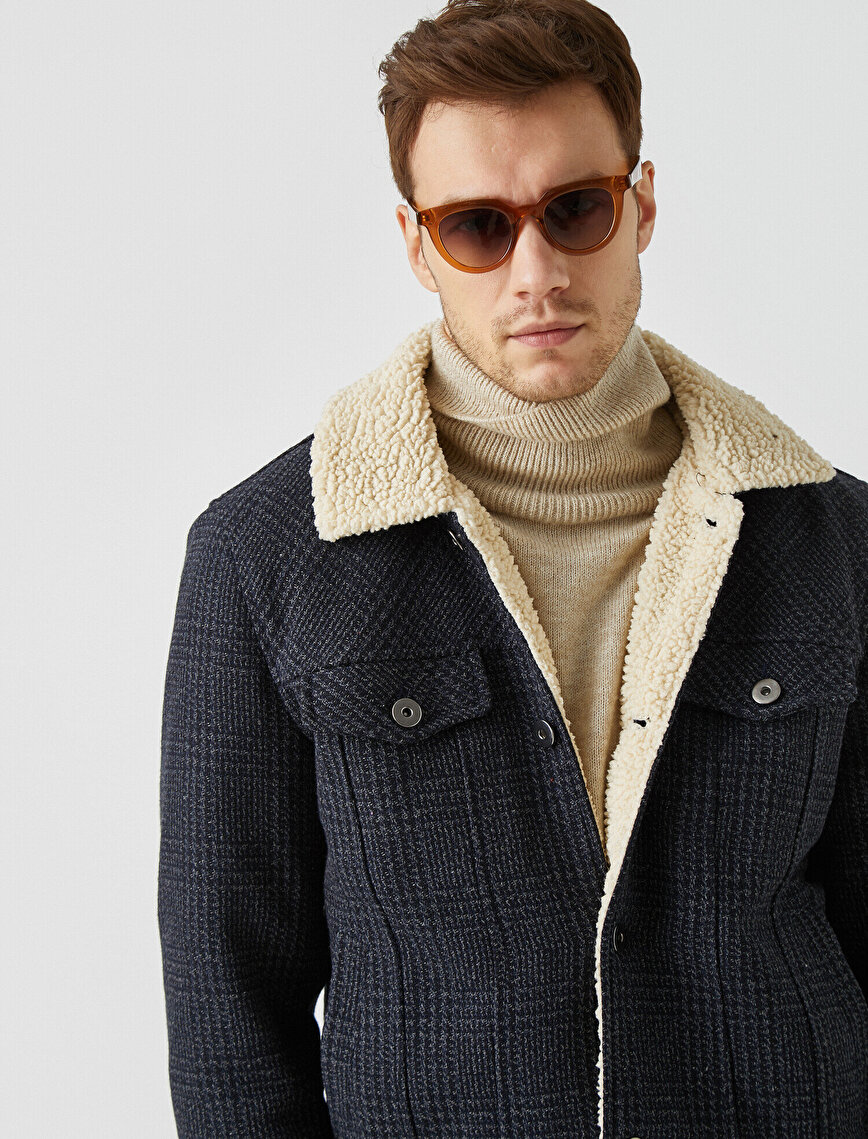 Sherpa Shirt Neck Pocket Button Detailed Check Coat