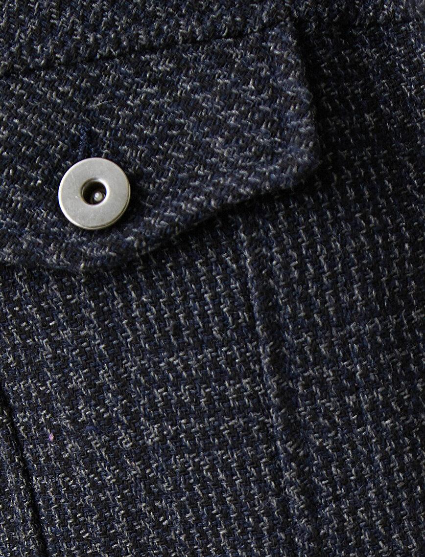 Şerpalı Gömlek Yaka Cepli Düğmeli Kareli Mont