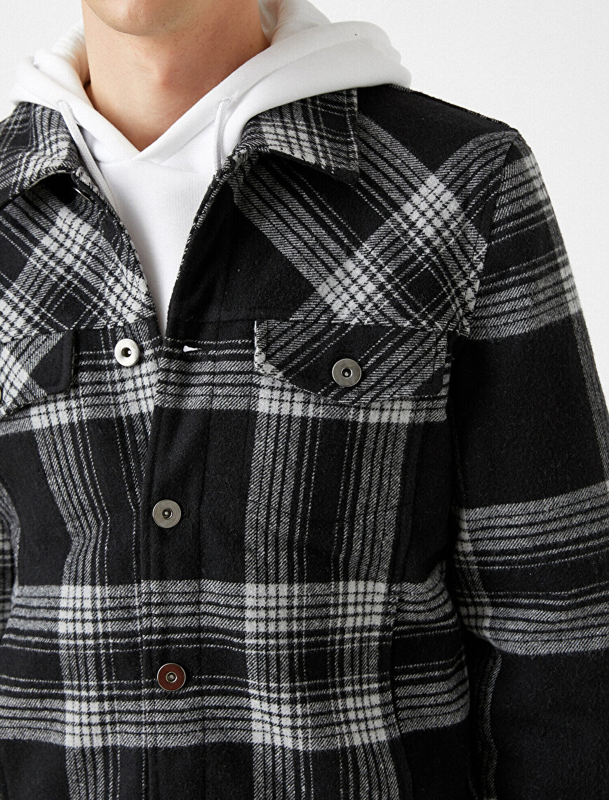 Check Classic Collar Button Detailed Coat