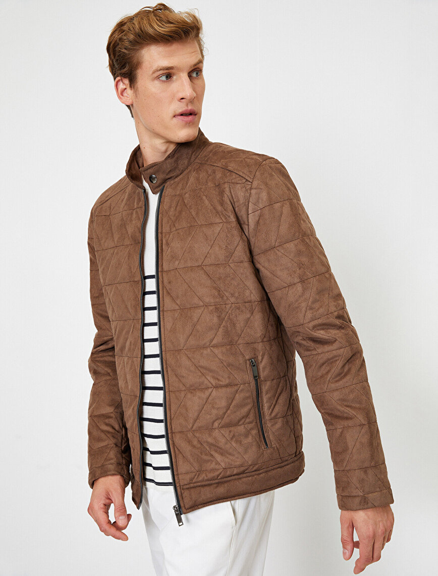 Leather Look Zip Through Jacket