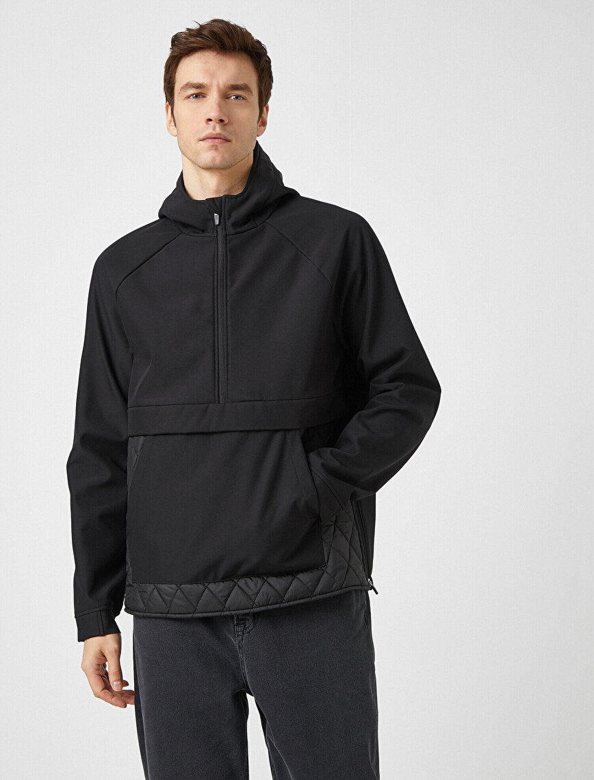 Stand Neck Hooded Zipper Detailed Relax Fit Coat