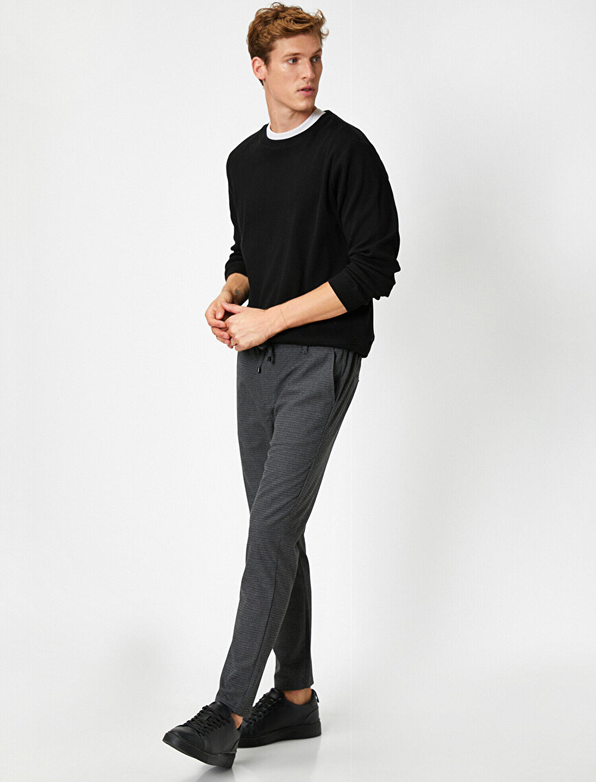 Striped Lace Up Chino Trousers
