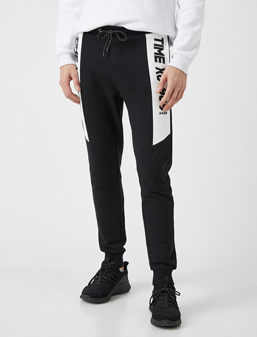 Drawstring Letter Printed Pocket Detailed Jogger Jogging Pants