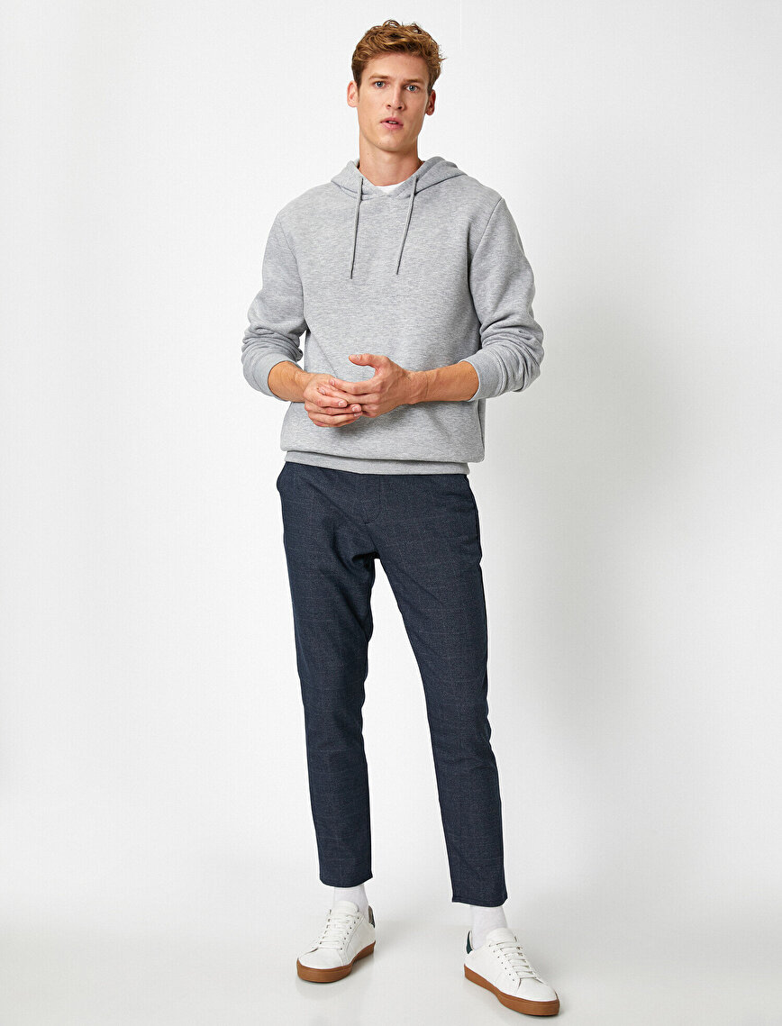 Checked Lace Up Chino Trousers