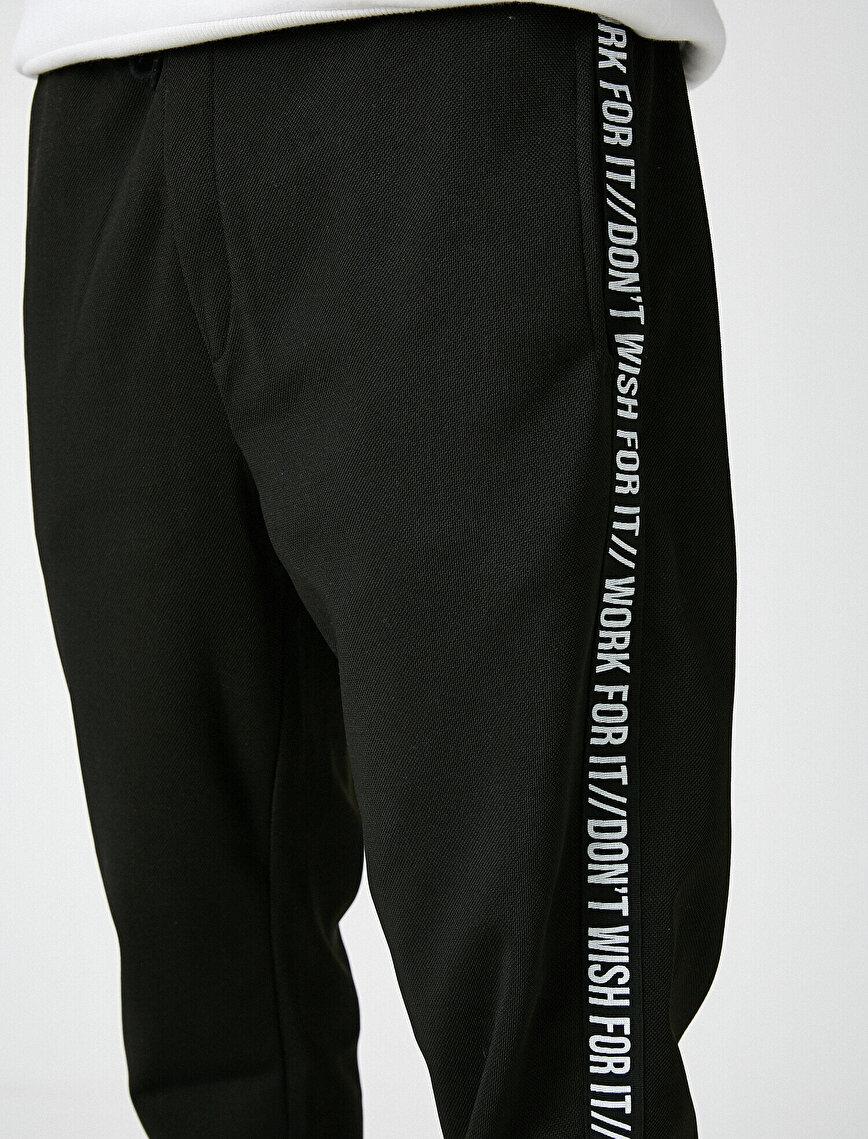 Letter Printed Medium Rise Jogging Pants