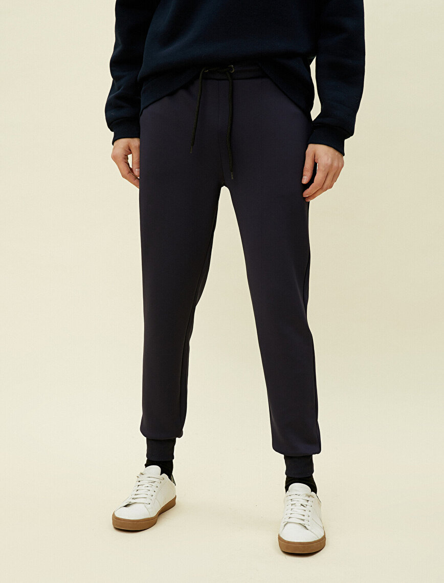 Medium Rise Strap On Pocket Detailed Jogging Pants