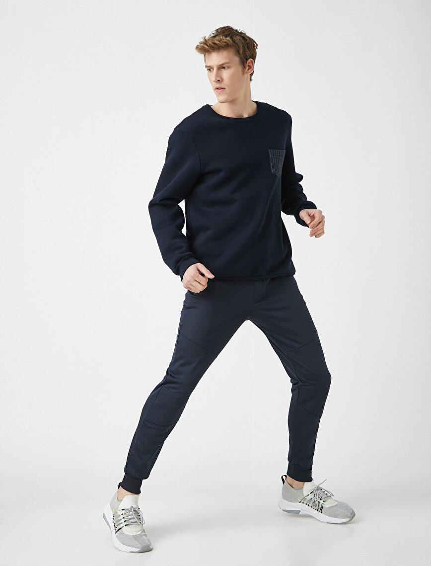 Pocket Zipper Detailed Medium Rise Jogging Pants