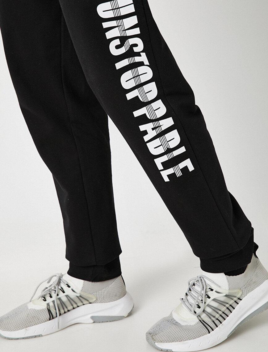 Cotton Letter Printed Jogging Pants