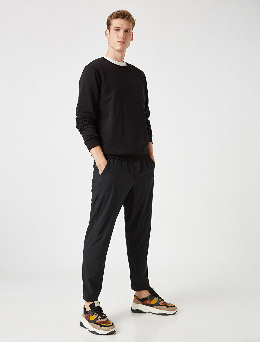 Medium Rise Basic Pocket Detailed Jogging Pants