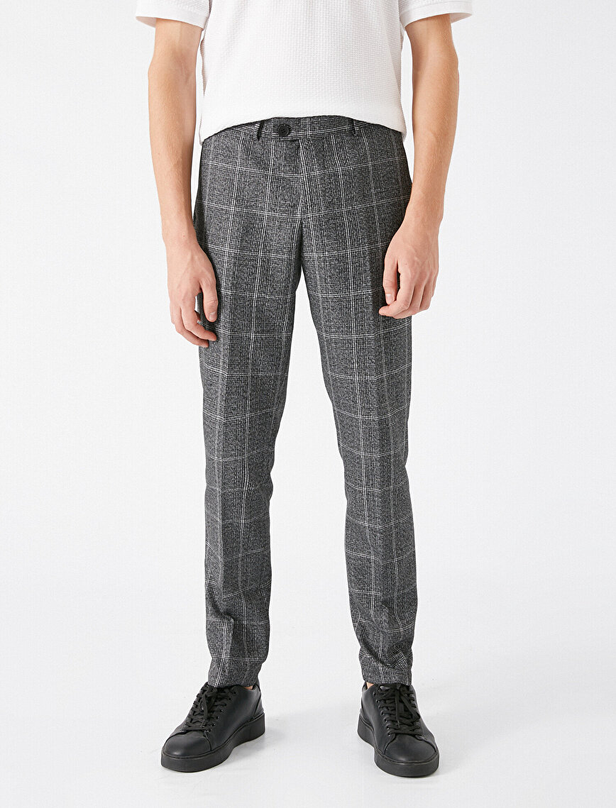 Checked Slim Chino Trousers