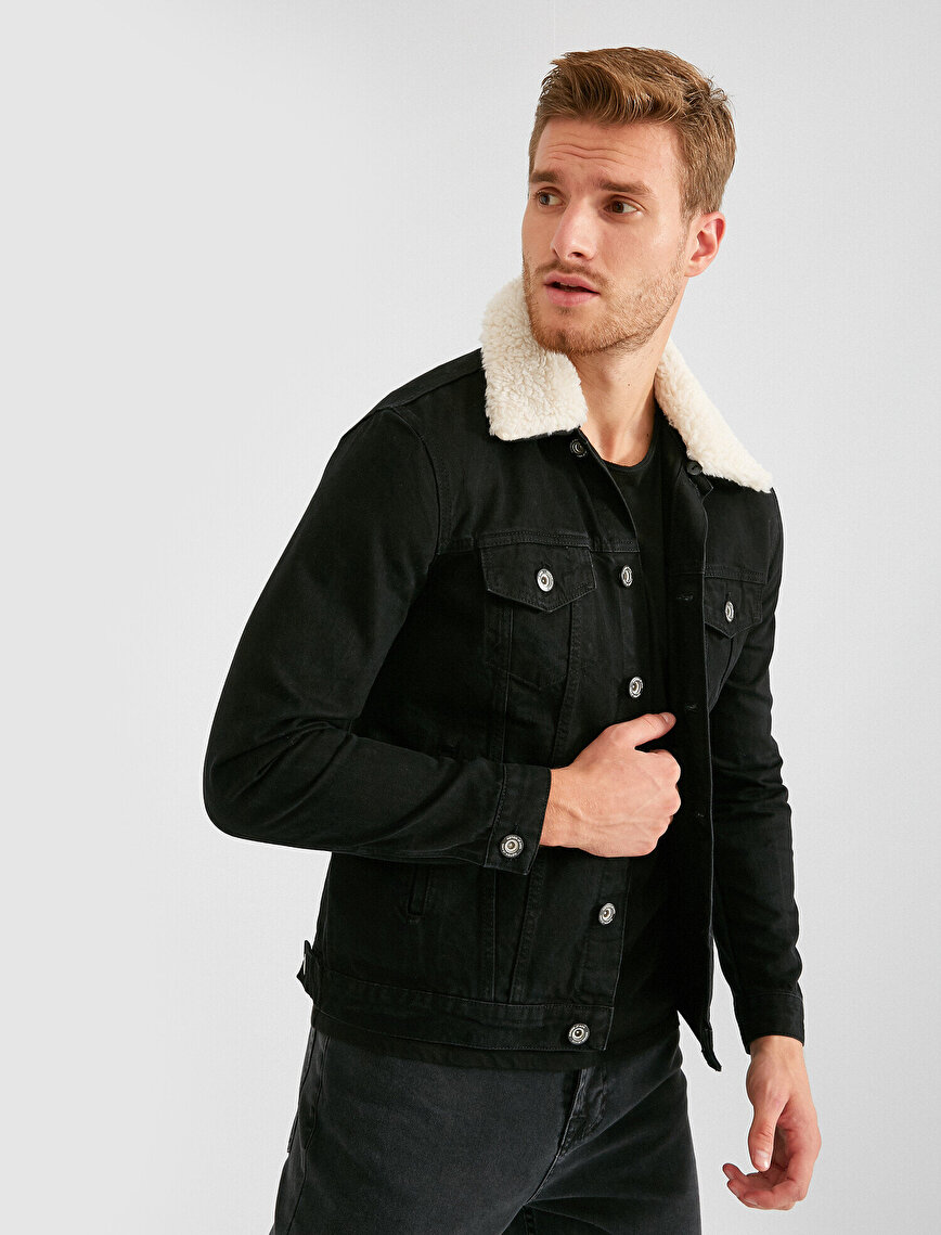 100% Cotton Faux Fur Neck Detailed Jean Jacket