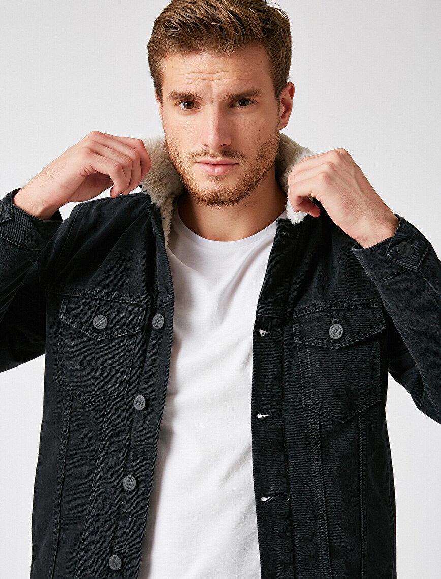 Cepli Yakası Suni Kürklü Jean Ceket