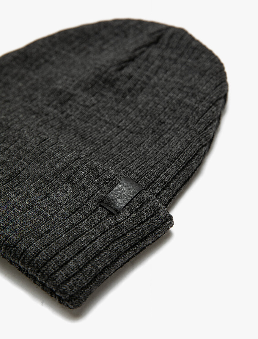 Faux Leather Detailed Beanie