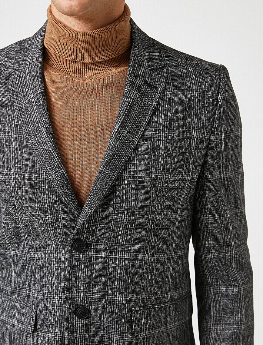 Pocket Detailed Checked Badge Collar  Blazer Jacket