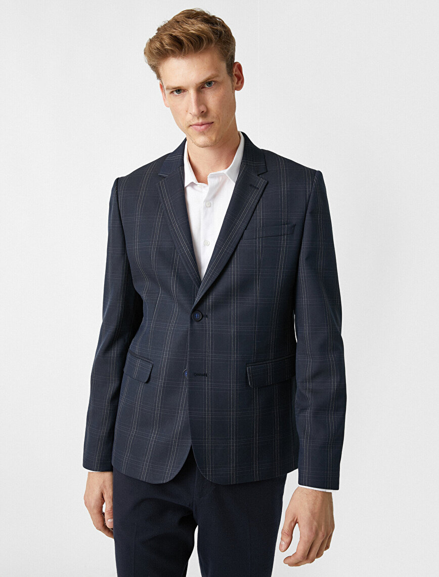 Check Pocket Detailed Blazer Jacket