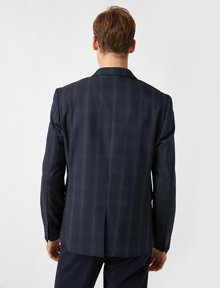 Kareli Cepli Blazer Ceket