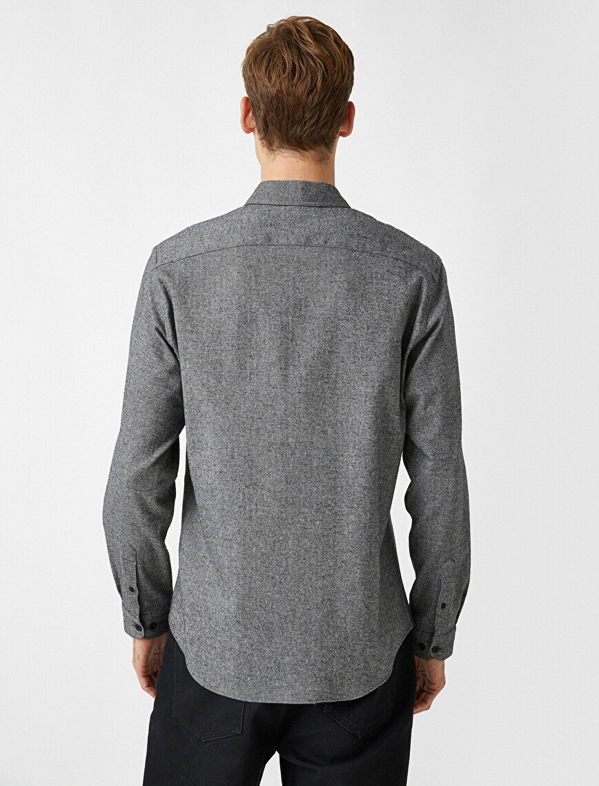 Slim Fit Klasik Yaka Uzun Kollu Gömlek