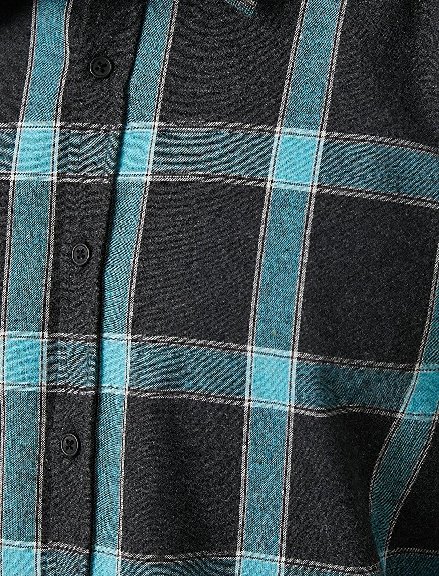 Ekoseli Klasik Yaka Uzun Kollu Gömlek
