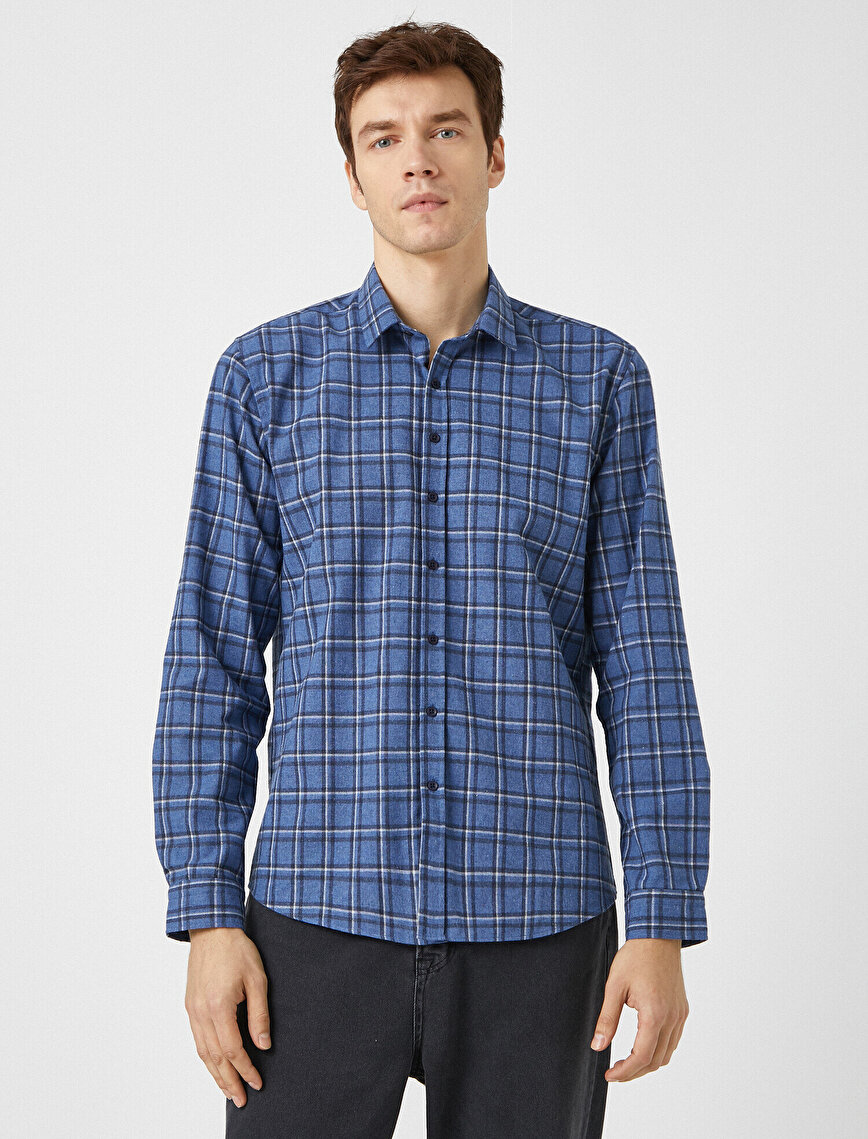 Kareli Klasik Yaka Uzun Kollu Gömlek