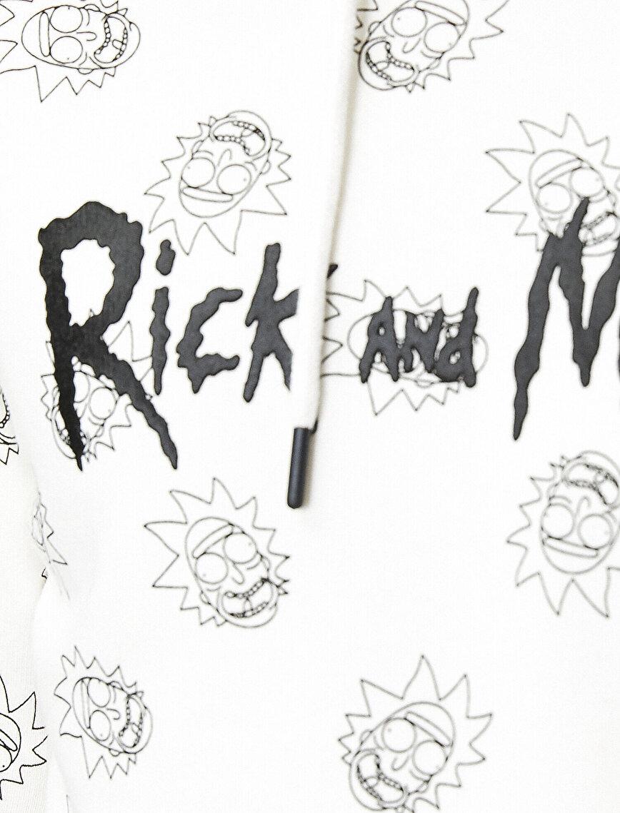 Rick and Morty Lisanslı Baskılı Kapüşonlu Sweatshirt