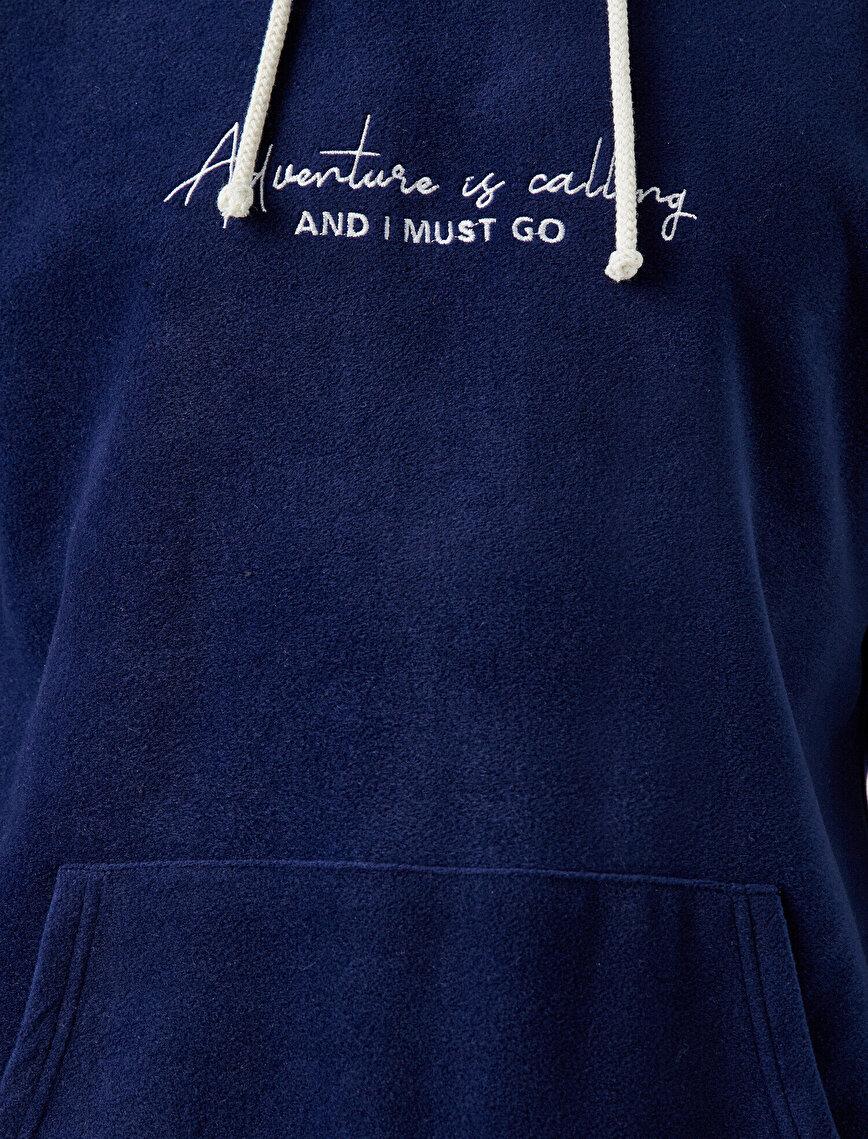 Kanguru Cepli Yazılı Baskılı Kapüşonlu Sweatshirt