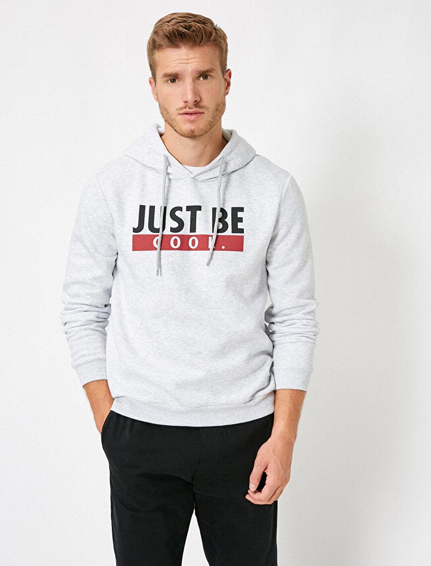 Uzun Kollu Slogan Baskılı Kapüşonlu Sweatshirt